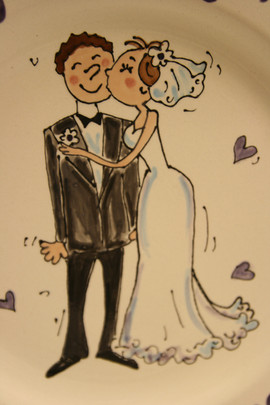 Close up of handpainted bride and groom