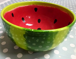 Watermelon painted bowl