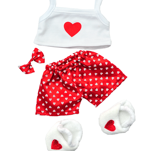 "Satin Heart PJ With Slippers (8"")"