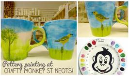 Lovely birds scene painted on a mug