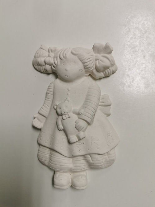 Girl with pig tails hanging plaque