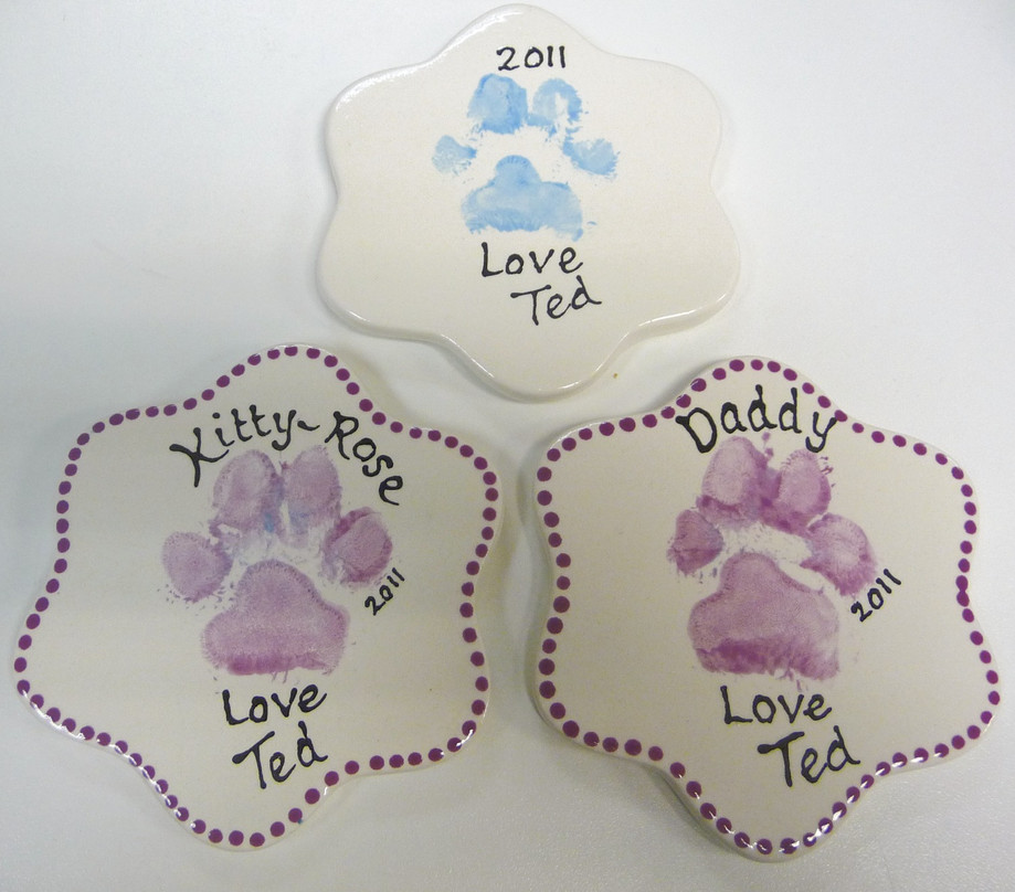 paw prints on coasters