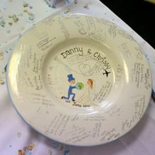 Hand painted signature wedding platter