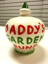 daddys garden fund painted on pottery