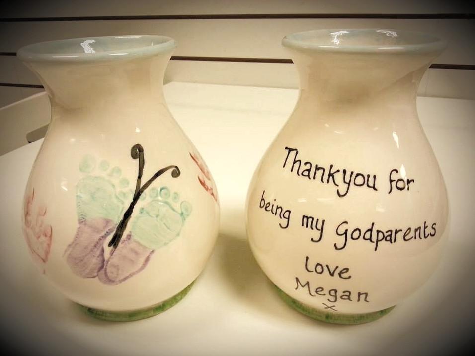 butterfly footprints on vase