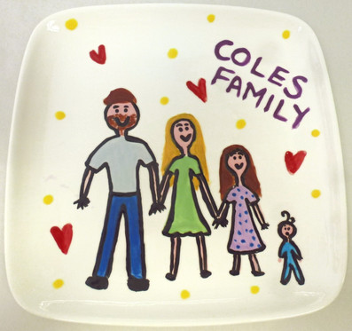family painted onto plate