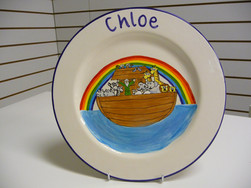Noahs arch handpainted on a plate