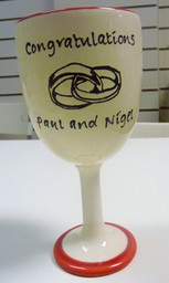 pottery wine goblet personalised