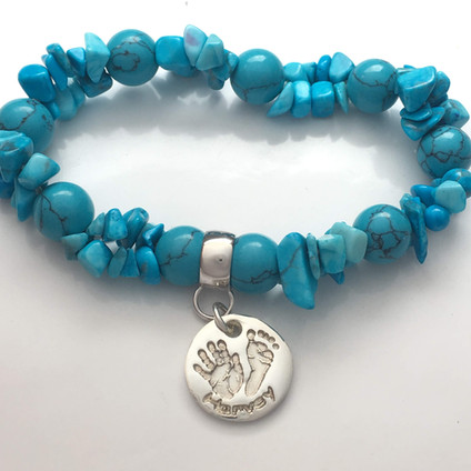 silver baby print jewellery bracelet