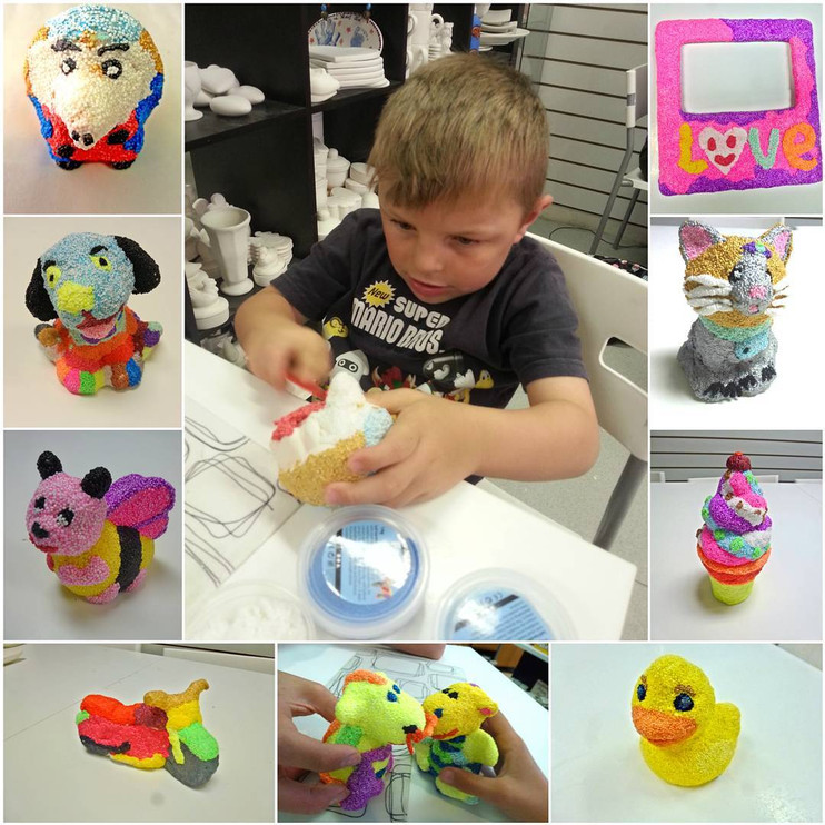 Child doing foam clay with examples