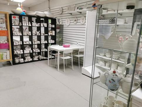 The socially distanced studio area