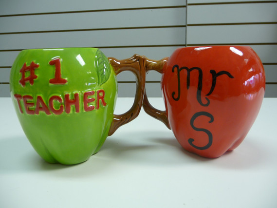 teacher mugs shape of apples