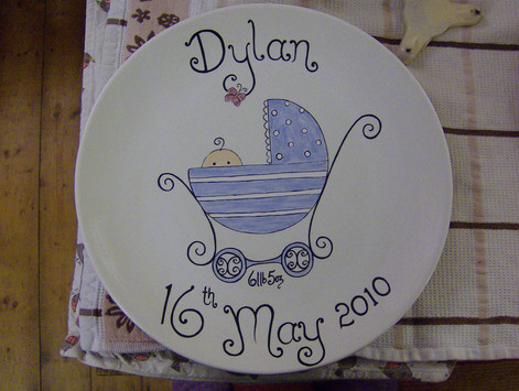 handpainted plate for new baby gift
