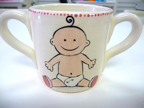 baby hand painted on two handled mug
