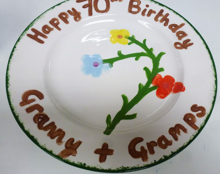 70th hand painted plate