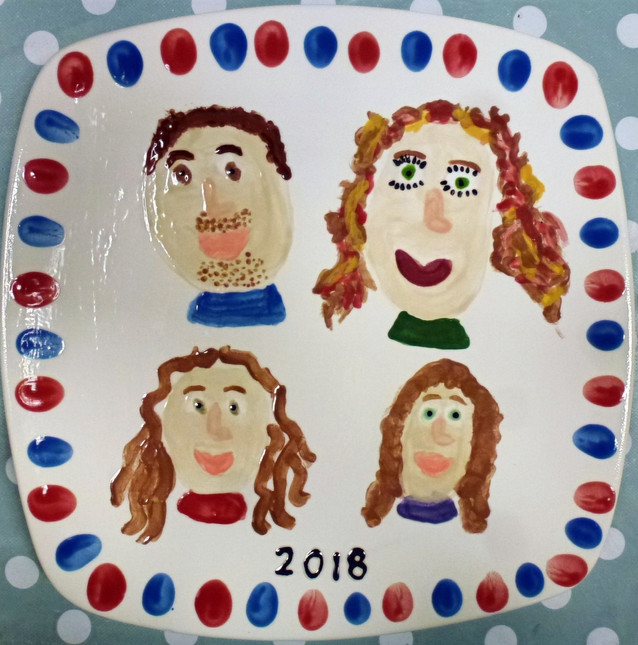 hand painted plate with family