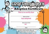Adoption certificate for make a teddy bear workshop