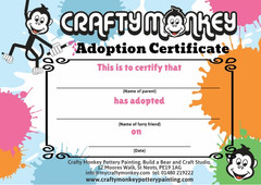 Adoption certificate for make a teddy bear workshop