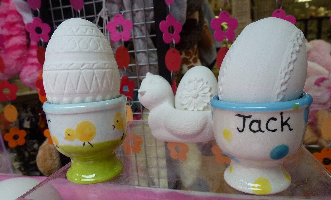 handpainted Easter eggs and egg cups