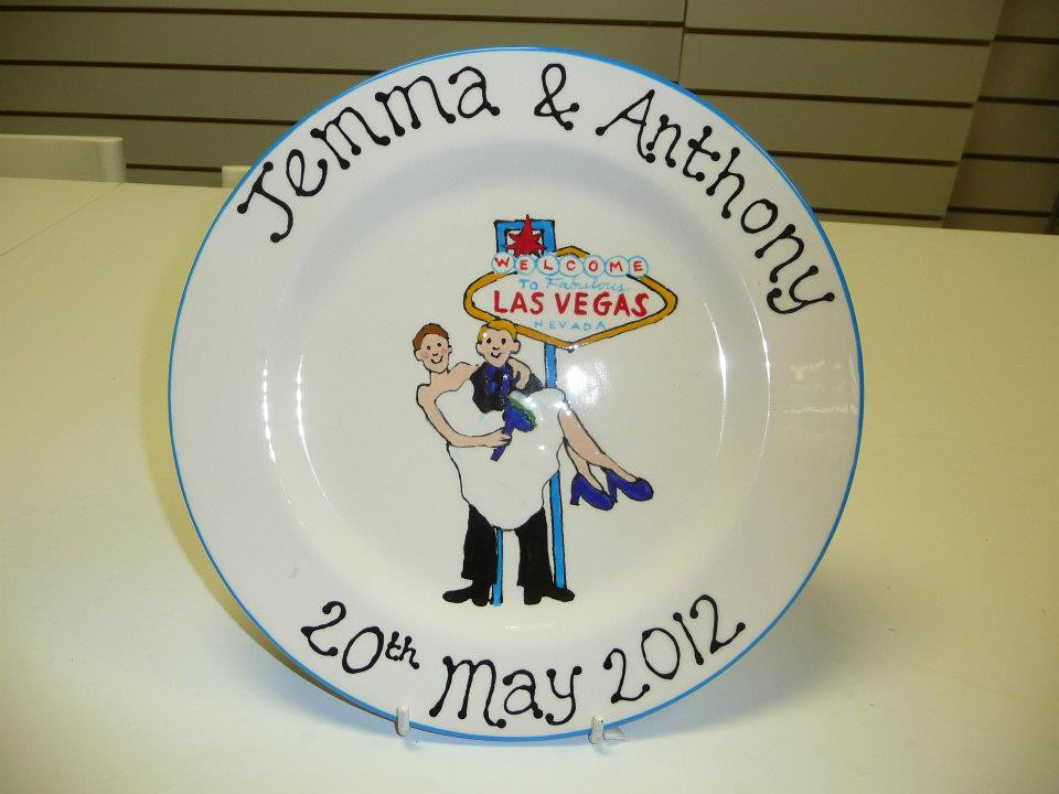 vegas wedding commemorative plate