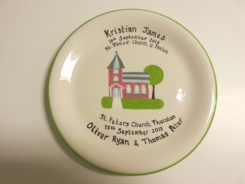 Hand painted plate for a christening