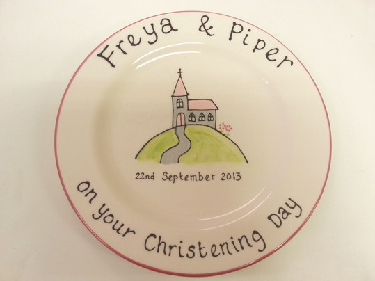 church painted onto plate for christening gift