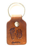 hand and footprint leather key fob