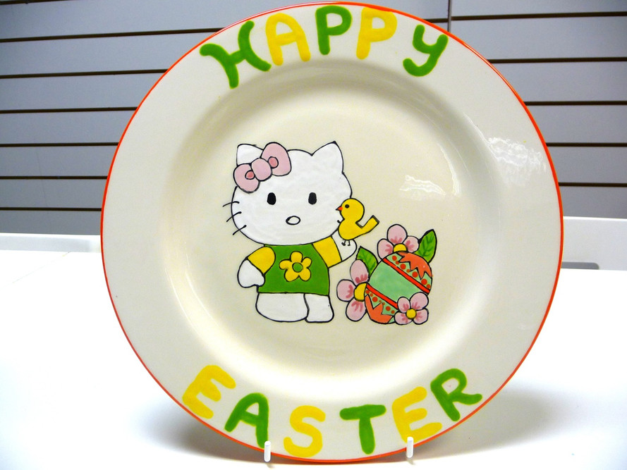 Easter hello kitty plate