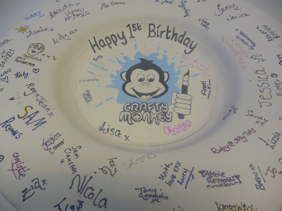 Crafty Monkey's 1st Birthday plate