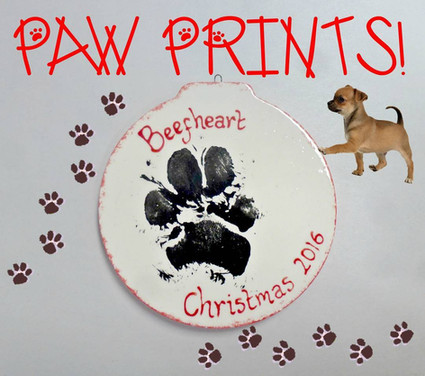 dogs paw print on christmas bauble