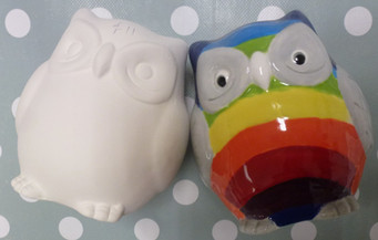 Owl before and after paint