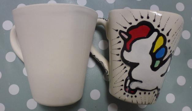 Bisque mug and unicorn painted on a mug