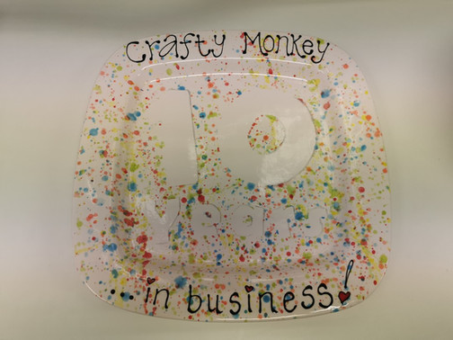 Crafty Monkey's 10th anniversary celebration plate