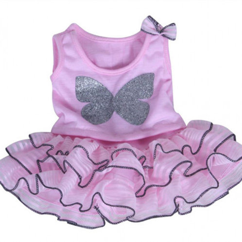 """Pink Butterfly Top With Tutu Skirt (8"""")"""
