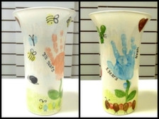 vase with handprint flowers