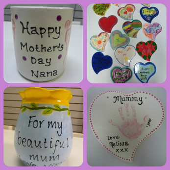 selection of mothers day pottery
