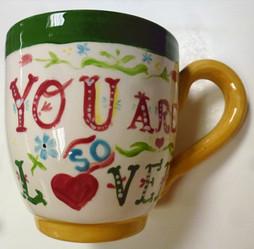 hand painted personalised mug