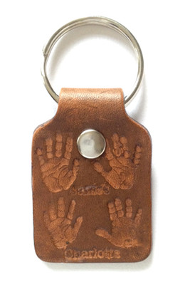 baby prints on leather keyfob