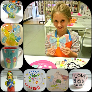 Young girl with a painted butterfly and examples of painted items