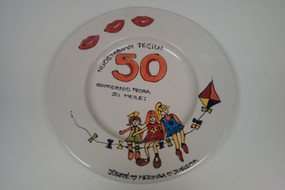 50th personalised painted plate