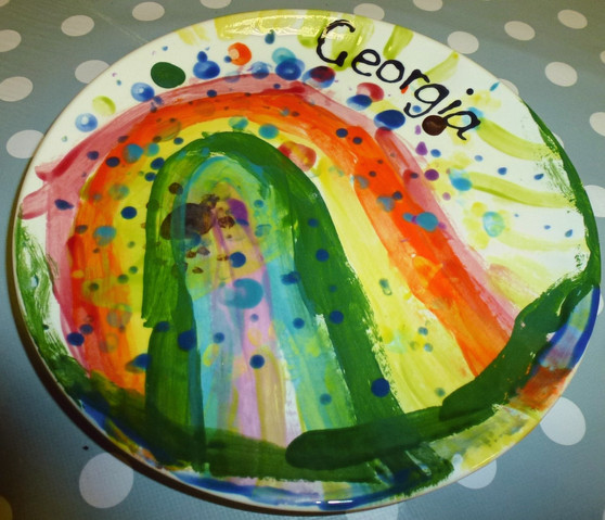 Beautiful rainbow painted by a young child