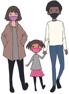 Family wearing masks