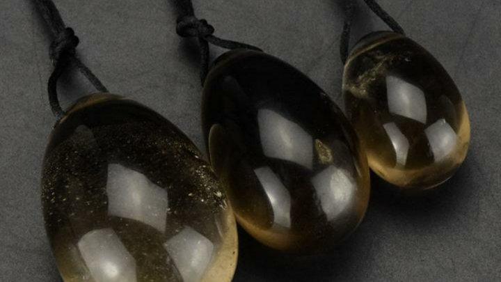 Shakti's Secret  3PCS/set Drilled Natural Smokey Quartz Crystal Yoni Egg