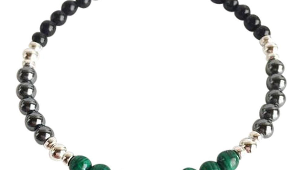Black Onyx, Hematite and Malachite Sterling Silver Bracelet