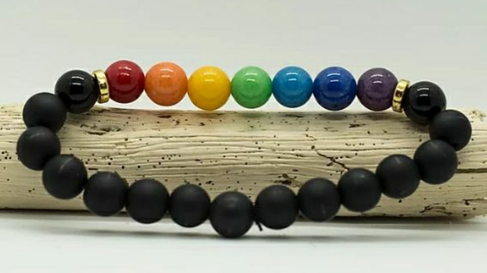 Chakra bracelet and onyx beads