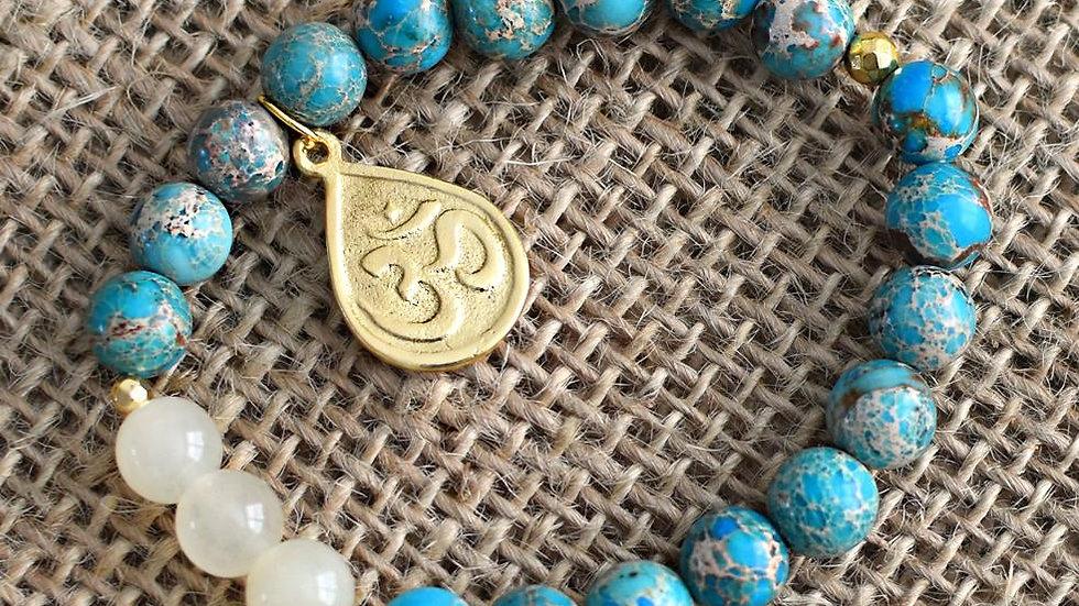INSPIRED ACTION ~ BLUE JASPER X FOSSIL JADE BRACELETS