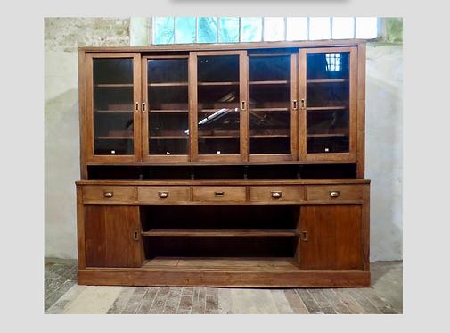 Antique Haberdashery Cabinet Glazed Sliding Doors