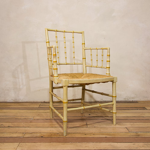 A Regency Faux Bamboo Painted Open Armchair