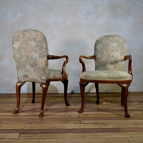 A Pair Of Tapestry George I Style Shepherd Crook Armchairs