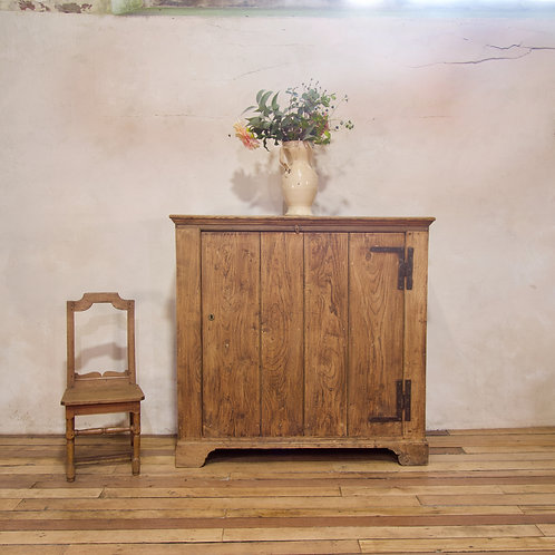 A 'Square' 19th - Century Bleached Elm And Oak Country Keepers Cupboard